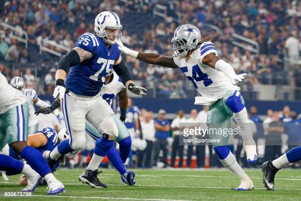Dallas Cowboys outside linebacker Jaylon Smith wrestles through a block by Indianapolis Colts offensive guard Jack Mewhort during the NFL preseason...