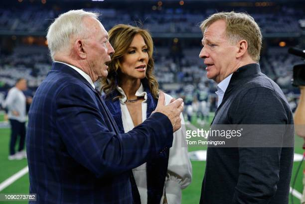 Dallas Cowboys owner Jerry Jones and Executive Vice President Charlotte Jones Anderson visit with NFL Commissioner Roger Goodell before the game...