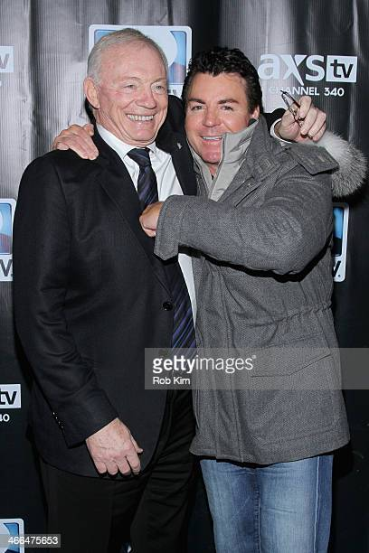Dallas Cowboys owner Jerry Jones and John Schnatter attend the DirecTV Super Saturday Night at Pier 40 on February 1 2014 in New York City