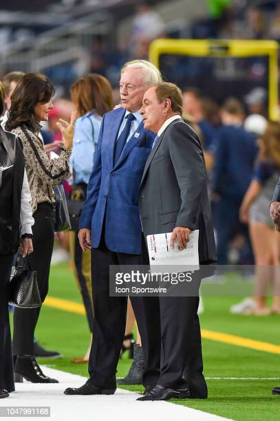 Dallas Cowboys owner Jerry Jones and NBC sportscaster Al Michaels chat before the game between the Dallas Cowboys and Houston Texans on October 7...