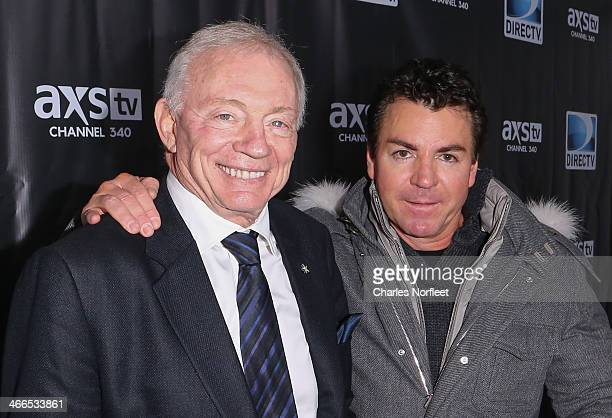 Dallas Cowboys owner Jerry Jones and Papa John's Pizza founder John Schnatter attend the DirecTV Super Saturday Night at Pier 40 on February 1 2014...