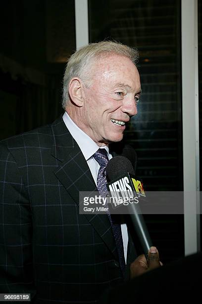 Dallas Cowboys owner Jerry Jones arrives for the 4th annual Two Kings Dinner hosted by JayZ and LeBron James at the W Dallas on February 13 2010 in...
