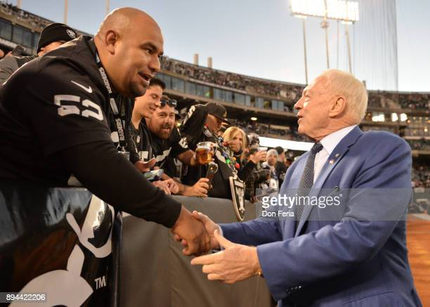 Dallas Cowboys owner Jerry Jones greets fans in the stands prior to their game against the Oakland Raiders during their NFL game at OaklandAlameda...