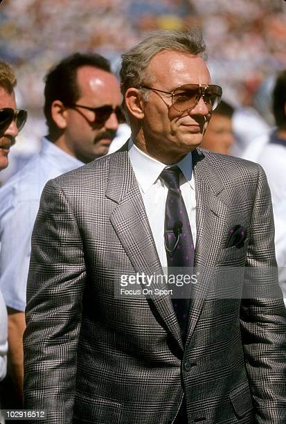 CIRCA 1991 Dallas Cowboys Owner Jerry Jones in this portrait watching the action from the sidelines circa 1991 during an NFL football game Jones has...