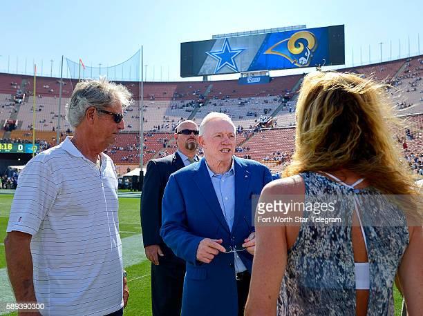 Dallas Cowboys owner Jerry Jones on the field at the Los Angeles Coliseum as the Cowboys meet the Los Angeles Rams in a preseason game on Saturday...