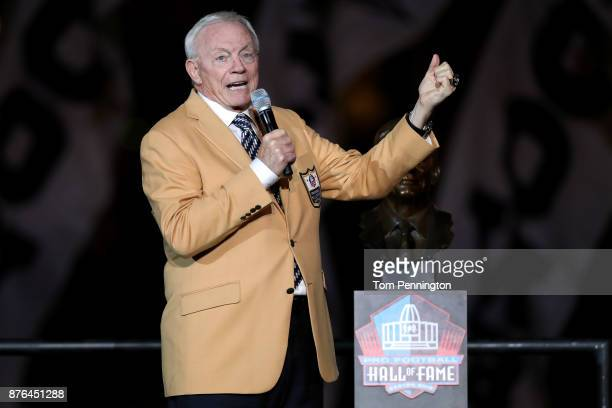 Dallas Cowboys owner Jerry Jones reacts after receiving his Pro Football Hall of Fame ring during halftime at ATT Stadium on November 19 2017 in...