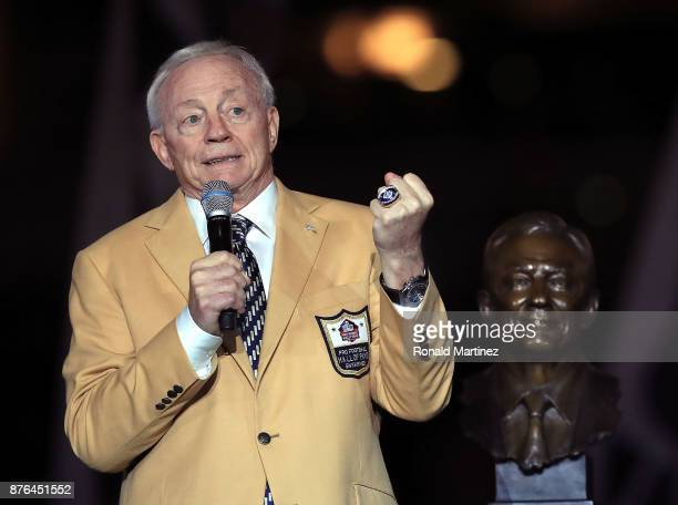 Dallas Cowboys owner Jerry Jones reacts after recieving his ring from the Pro Football Hall of Fame during halftime of the game against the...