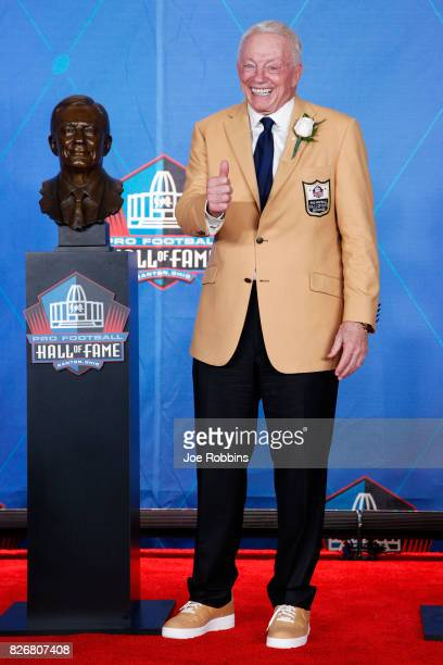 Dallas Cowboys owner Jerry Jones reacts following the Pro Football Hall of Fame Enshrinement Ceremony at Tom Benson Hall of Fame Stadium on August 5...