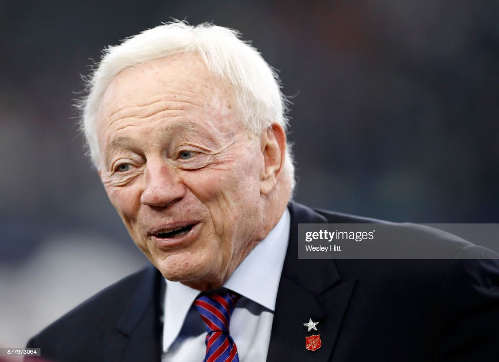 Dallas Cowboys owner Jerry Jones stands on the field during warmups before the football game against the Los Angeles Chargers at AT&T Stadium on November 23, 2017 in Arlington, Texas.