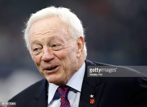 Dallas Cowboys owner Jerry Jones stands on the field during warmups before the football game against the Los Angeles Chargers at ATT Stadium on...