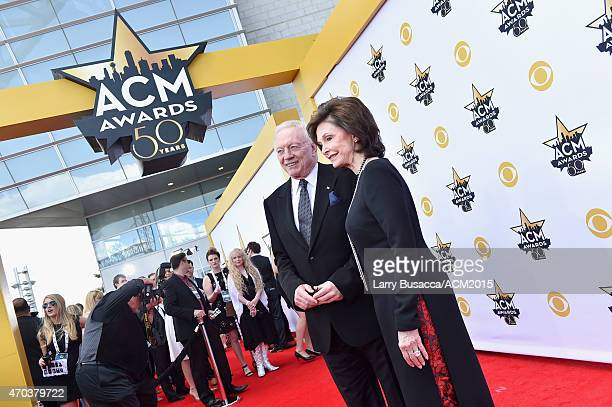 Dallas Cowboys Owner President and General Manager Jerry Jones and Gene Jones attend the 50th Academy of Country Music Awards at ATT Stadium on April...