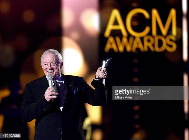 Dallas Cowboys Owner President and General Manager Jerry Jones speaks onstage during the 50th Academy of Country Music Awards at ATT Stadium on April...