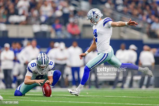 Dallas Cowboys Place Kicker Brett Maher kicks during the game between the New York Giants and the Dallas Cowboys on September 8 2019 at ATT Stadium...