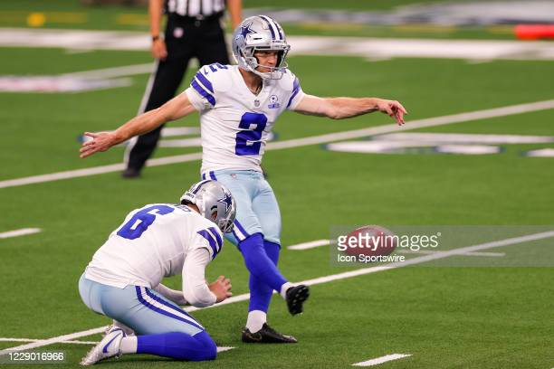 Dallas Cowboys Place Kicker Greg Zuerlein kicks a field goal during the NFL game between the New York Giants and Dallas Cowboys on October 11, 2020...