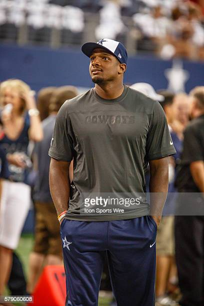 Dallas Cowboys practice squad player Michael Sam prior to the NFL season opener football game between the Dallas Cowboys and San Francisco 49ers at...