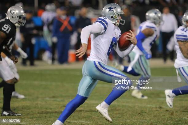 Dallas Cowboys punter Chris Jones fakes a punt an gets a crucial first down in the third quarter against the Oakland Raiders on Sunday Dec 17 2017 at...