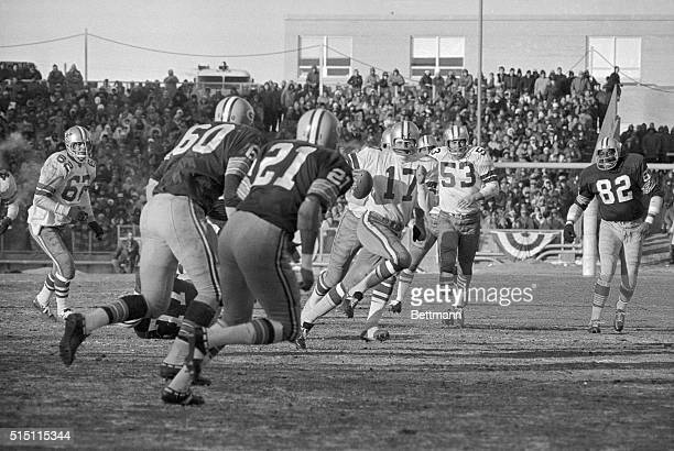 Dallas Cowboys QB Don Meredith fumbled when he was hit by Green Bay Packers and later Packers DB Herb Adderly dived to claim the ball during 3rd...