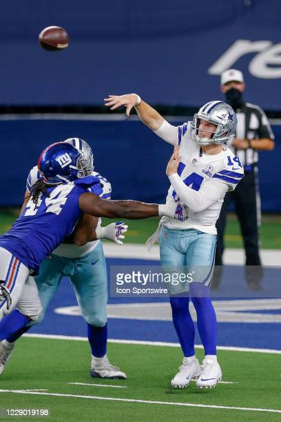 Dallas Cowboys Quarterback Andy Dalton makes a pass during the final drive of the NFL game between the New York Giants and Dallas Cowboys on October...