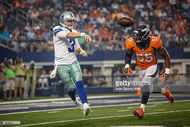 Dallas Cowboys quarterback Brandon Weeden in action during the final NFL preseason game between the Denver Broncos and Dallas Cowboys at AT&T Stadium...