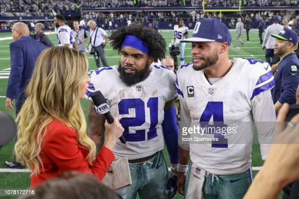 Dallas Cowboys quarterback Dak Prescott and running back Ezekiel Elliott are interviewed by Fox reporter Erin Andrews after the NFC wildcard playoff...