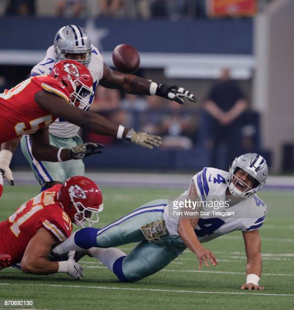 Dallas Cowboys quarterback Dak Prescott avoids a sack early against the Kansas City Chiefs and was rarely hurried the rest of the game on Sunday Nov...