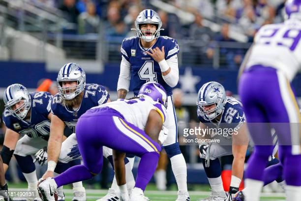 Dallas Cowboys Quarterback Dak Prescott calls an audible during the game between the Minnesota Vikings and Dallas Cowboys on November 10, 2019 at...