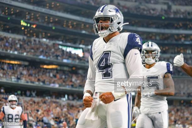 Dallas Cowboys Quarterback Dak Prescott celebrates his touchdown during the game between the Miami Dolphins and Dallas Cowboys on September 22, 2019...