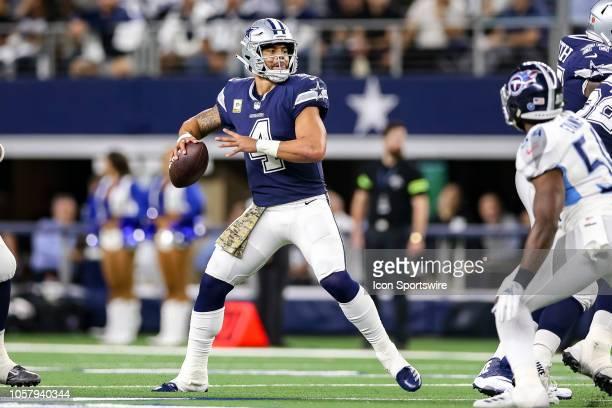 Dallas Cowboys quarterback Dak Prescott drops back to pass during the game between the Tennessee Titans and Dallas Cowboys on November 5 2018 at ATT...
