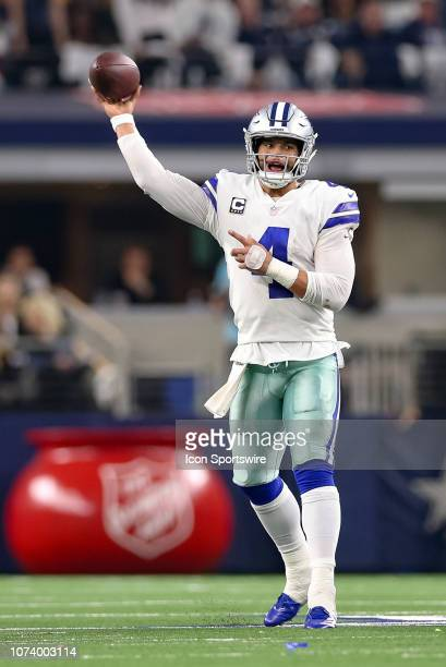 Dallas Cowboys Quarterback Dak Prescott drops back to pass during the game between the Philadelphia Eagles and Dallas Cowboys on December 9 2018 at...