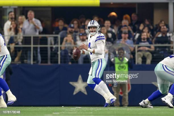 Dallas Cowboys quarterback Dak Prescott drops back to pass during the NFC wildcard playoff game between the Seattle Seahawks and Dallas Cowboys on...