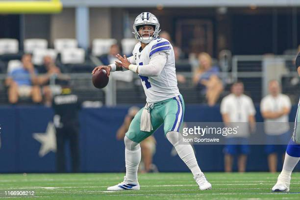 Dallas Cowboys Quarterback Dak Prescott drops back to pass during the game between the New York Giants and the Dallas Cowboys on September 8 2019 at...