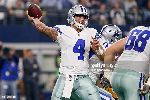 Dallas Cowboys quarterback Dak Prescott drops back to pass during the NFC Divisional Playoff game between the Dallas Cowboys and Green Bay Packers on...