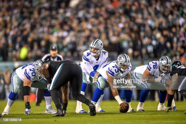 Dallas Cowboys quarterback Dak Prescott gets ready for the snap during the NFL game between the Dallas Cowboys and the Philadelphia Eagles on...