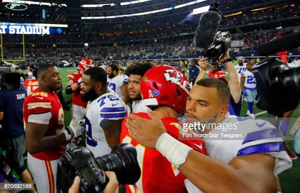 Dallas Cowboys quarterback Dak Prescott greets Kansas City Chiefs quarterback Alex Smith at midfield after the game on Sunday Nov 5 2017 at ATT...