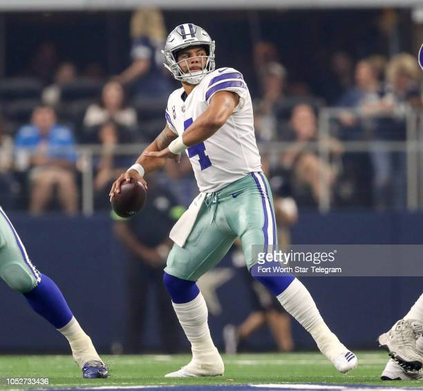 Dallas Cowboys quarterback Dak Prescott looks downfield against the Detroit Lions on Sunday Sept 30 2018 at ATT Stadium in Arlington Texas