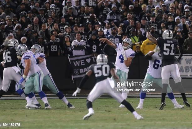 Dallas Cowboys quarterback Dak Prescott passes against the Oakland Raiders on Sunday Dec 17 2017 at OaklandAlameda County Coliseum in Oakland Calif
