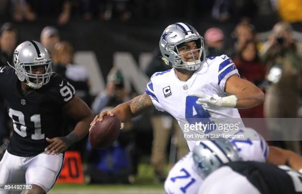 Dallas Cowboys quarterback Dak Prescott passes in the third quarter against the Oakland Raiders on Sunday Dec 17 2017 at OaklandAlameda County...