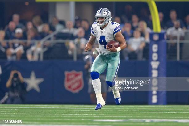 Dallas Cowboys quarterback Dak Prescott runs on a quarterback keeper during the game between the New York Giants and Dallas Cowboys on September 16...