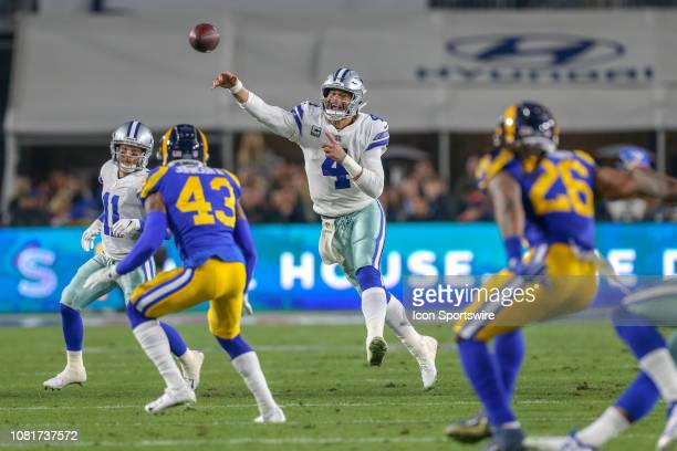 Dallas Cowboys quarterback Dak Prescott runs out of the pocket during the NFC Divisional Football game between the Dallas Cowboys and the Los Angeles...