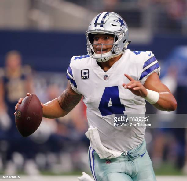 Dallas Cowboys quarterback Dak Prescott spent much of the game rolling out of the pocket to look for second or third reads against the Los Angeles...