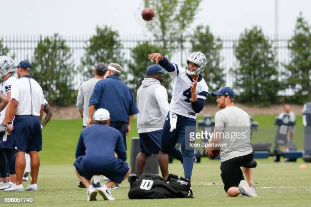 Dallas Cowboys Quarterback Dak Prescott throws a pass during Dallas Cowboys minicamp on June 14, 2017 at The Star in Frisco, TX.