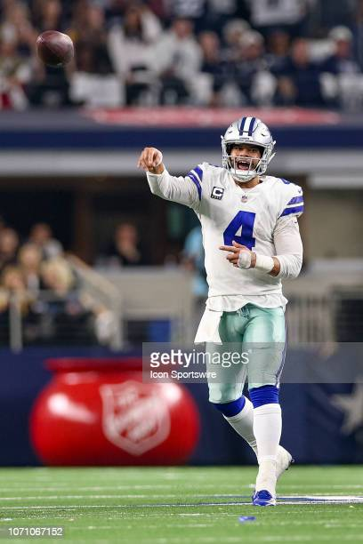 Dallas Cowboys Quarterback Dak Prescott throws a pass during the game between the Philadelphia Eagles and Dallas Cowboys on December 9 2018 at ATT...