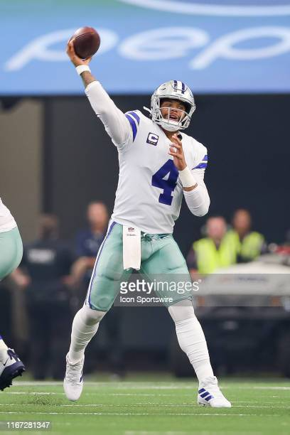 Dallas Cowboys Quarterback Dak Prescott throws a pass during the game between the New York Giants and the Dallas Cowboys on September 8 2019 at ATT...