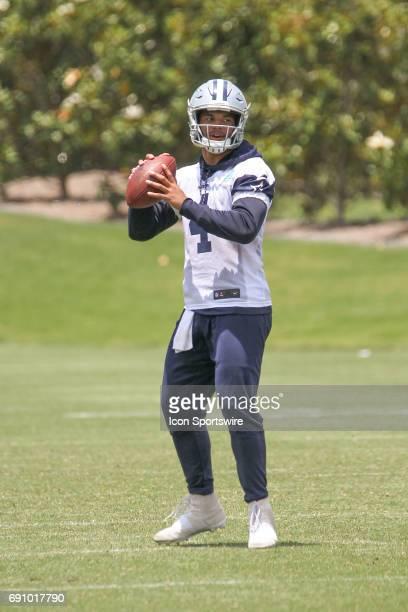 Dallas Cowboys quarterback Dak Prescott throws during the Dallas Cowboys OTA practice on May 31 2017 at The Star in Frisco Texas