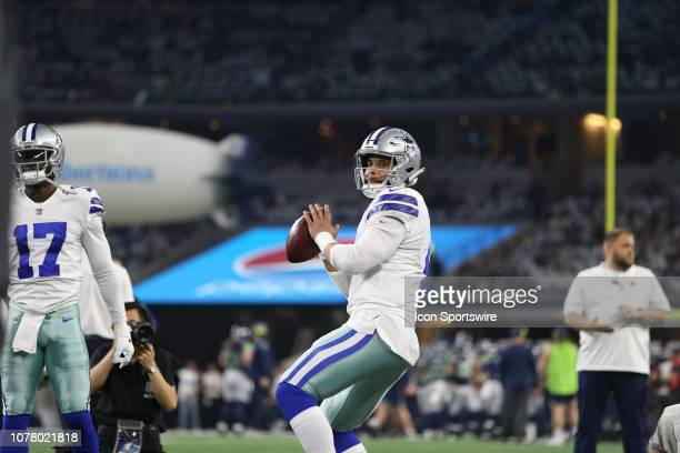 Dallas Cowboys quarterback Dak Prescott throws during the NFC wildcard playoff game between the Seattle Seahawks and Dallas Cowboys on January 5 2019...