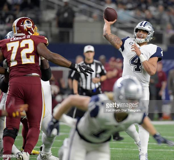 Dallas Cowboys quarterback Dak Prescott tires to complete a pass to wide receiver Dez Bryant in the end zone but Bryant was interfered with during...