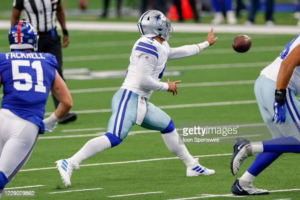 Dallas Cowboys Quarterback Dak Prescott tosses the ball during the NFL game between the New York Giants and Dallas Cowboys on October 11, 2020 at...