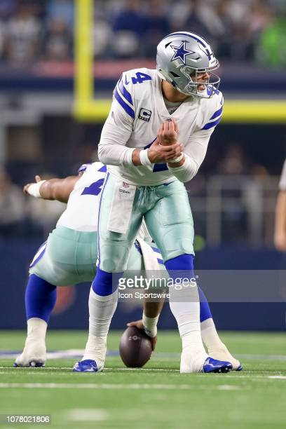 Dallas Cowboys quarterback Dak Prescott turns to audible during the NFC wildcard playoff game between the Seattle Seahawks and Dallas Cowboys on...
