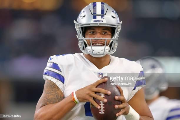 Dallas Cowboys quarterback Dak Prescott warms up prior to the preseason football game between the Dallas Cowboys and Arizona Cardinals on August 26,...