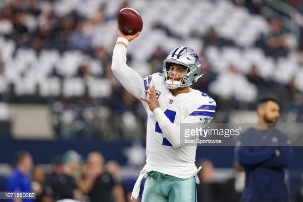 Dallas Cowboys Quarterback Dak Prescott warms up prior to the game between the Philadelphia Eagles and Dallas Cowboys on December 9 2018 at ATT...